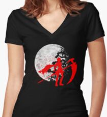 Moonlit Huntress Women's Fitted V-Neck T-Shirt