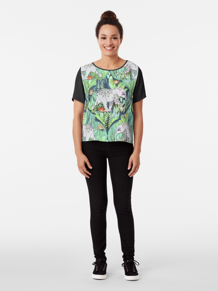 Alternate view of Little Elephant on a Jungle Adventure – faded vintage version Chiffon Top