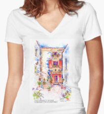 Entrance to La Bergerie, Trausse, France Women's Fitted V-Neck T-Shirt