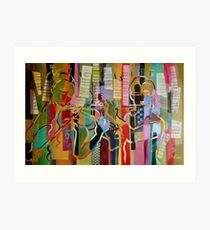 Expresstionist Violin and Flute Players 844 Art Print
