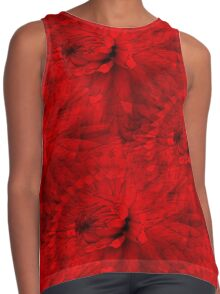 Red Hot Dahlia Flower Abstract  Contrast Tank