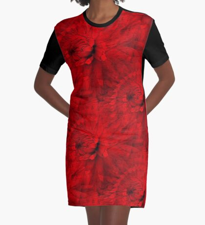 Red Hot Dahlia Flower Abstract  Graphic T-Shirt Dress