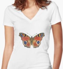 Peacock Butterfly (Inachis io) Women's Fitted V-Neck T-Shirt