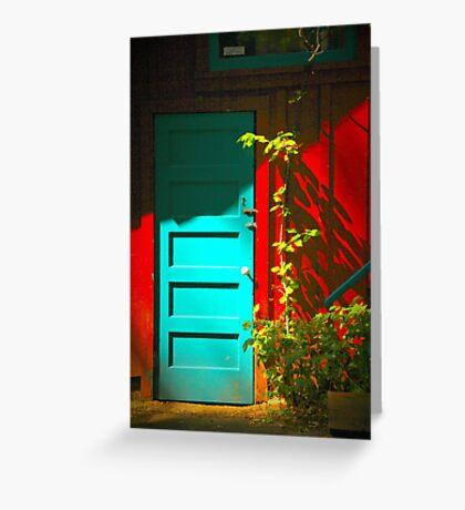 Blue Door in Shadow Greeting Card