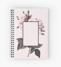 Pink Rectangle Flowers Spiral Notebook