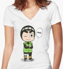 rock lee naruto Women's Fitted V-Neck T-Shirt