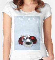 Christmas balls on snow Women's Fitted Scoop T-Shirt