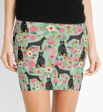Doberman Pinscher florals perfect gift for doberman owner dog breed art print custom pet friendly designs Mini Skirt