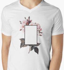 Floral Rectangle Logo Mens V-Neck T-Shirt