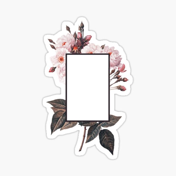 Floral Rectangle Logo Sticker