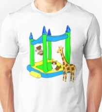 Barnyard Bouncy House of a Cute Giraffe, Monkey, and Puppy T-Shirt