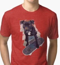 SK8 Staffy Dog Skater colour pic Tri-blend T-Shirt