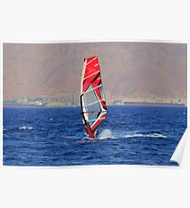 Windsurfing in a red sea Poster
