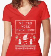 WORK FROM HOME - UGLY CHRISTMAS SWEATER Women's Fitted V-Neck T-Shirt