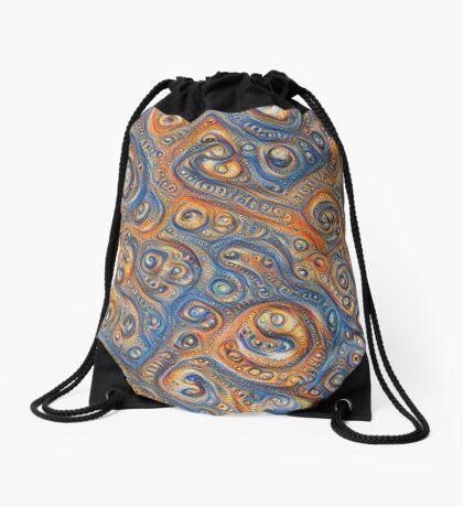 Blue Orange #DeepDream Drawstring Bag