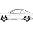 Lancia Gamma coupe Line drawing artwork by RJWautographics