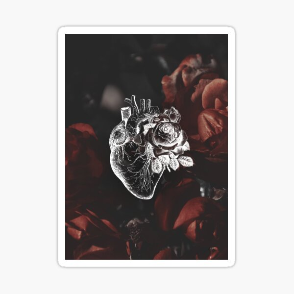 Floral Anatomical Heart With Moody Red Floral Background Sticker