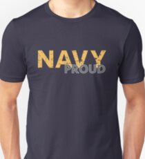 Navy Proud yellow distressed T-Shirt