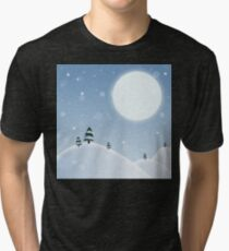 Winter Snow Scene Tri-blend T-Shirt