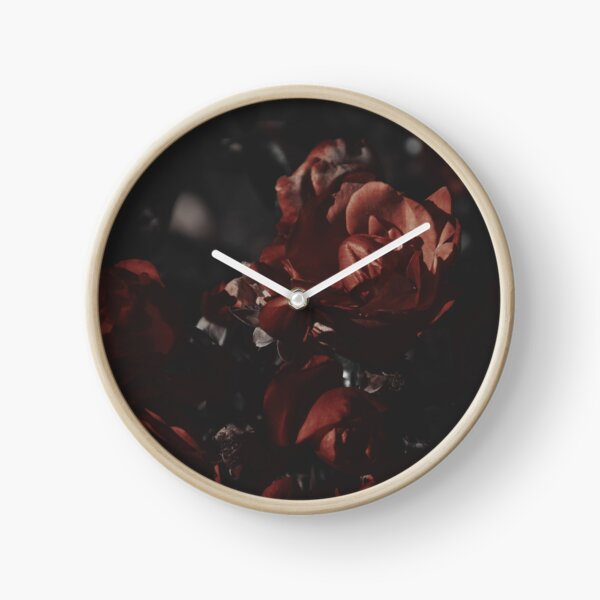 Moody Red Floral Background Clock