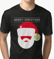 merry Christmas big santa claus rot mütze kugel stick strick Tri-blend T-Shirt