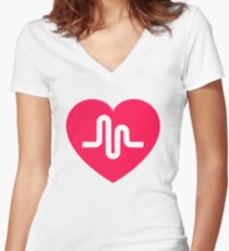 Musically musical.ly musicly heart Women's Fitted V-Neck T-Shirt