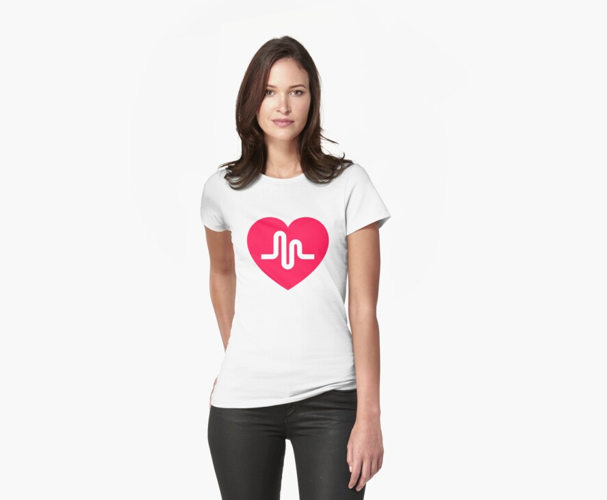 """""""Musically musical.ly musicly heart"""" Womens Fitted T ..."""