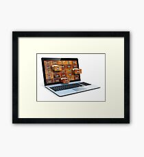 E-book library concept with laptop computer and vintage drawers Framed Print