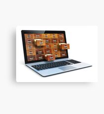 E-book library concept with laptop computer and vintage drawers Canvas Print