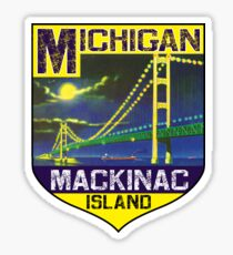 MACKINAC ISLAND MICHIGAN BRIDGE LAKE HURON GREAT LAKES VINTAGE BOAT Sticker