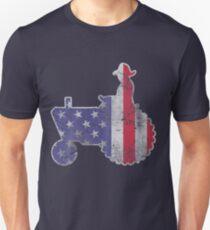 Patriotic American Farmer Tractor T-Shirt