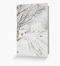 Snowy pigeon tower Rivington Greeting Card
