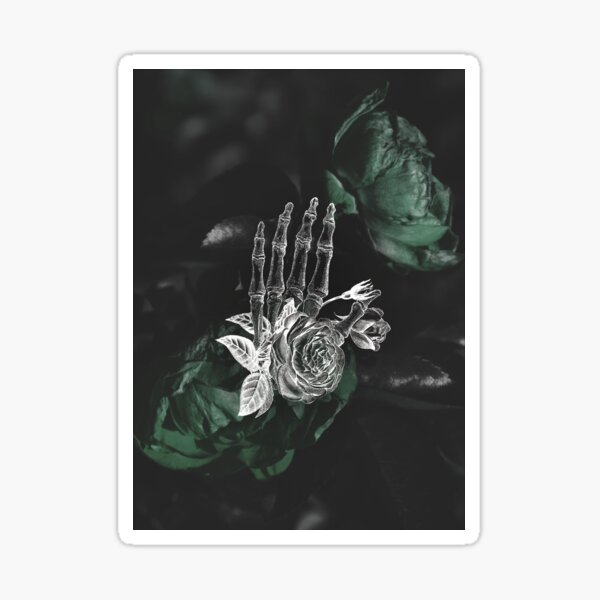 Skeleton Hand On Moody Green Floral Background Sticker