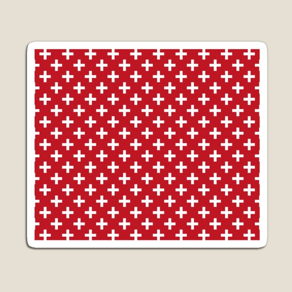 Crosses | Criss Cross | Swiss Cross | Hygge | Scandi | Plus Sign | Red and White |  Magnet