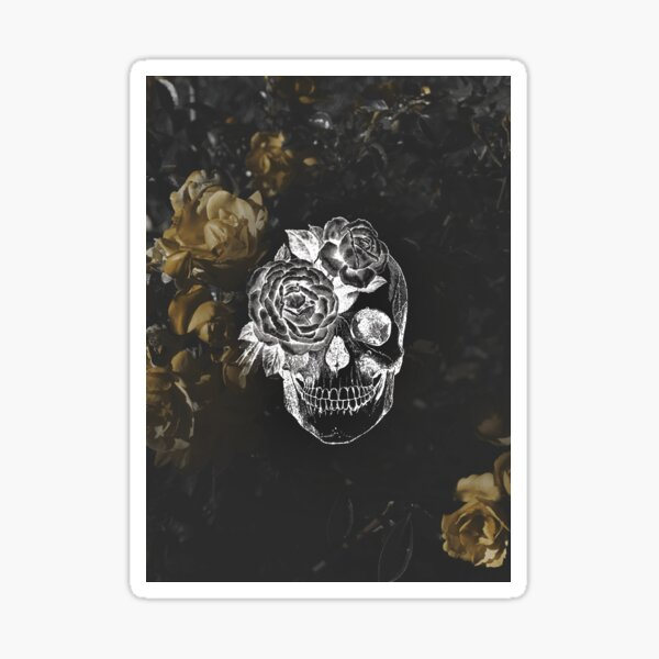 Flower Skull On Moody Yellow Floral Background Sticker