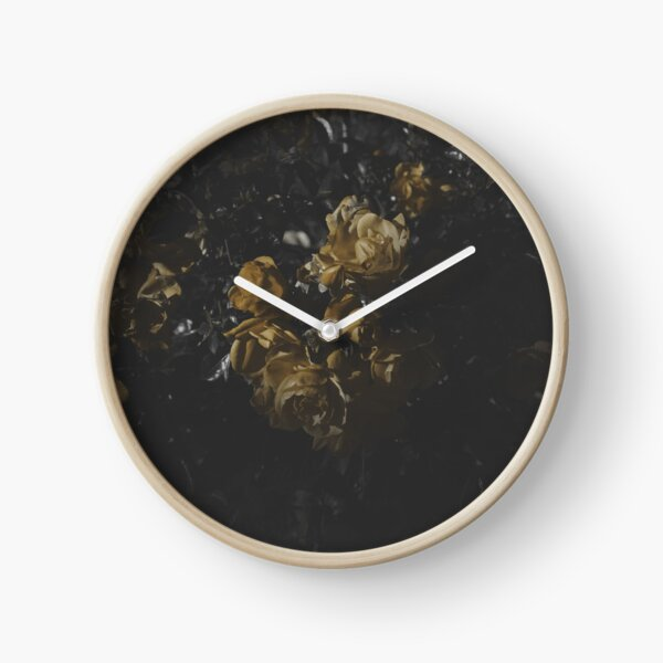 Moody Yellow Floral Background Clock