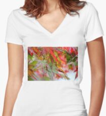 Happy Fall Rainy Day Women's Fitted V-Neck T-Shirt