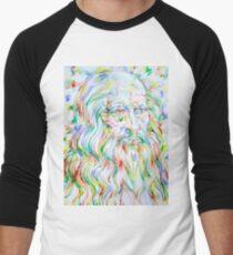 LEONARDO DA VINCI - watercolor portrait Men's Baseball ¾ T-Shirt
