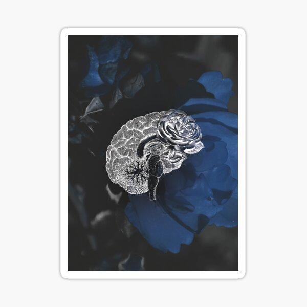 Anatomical Brain On Moody Blue Floral Background Sticker