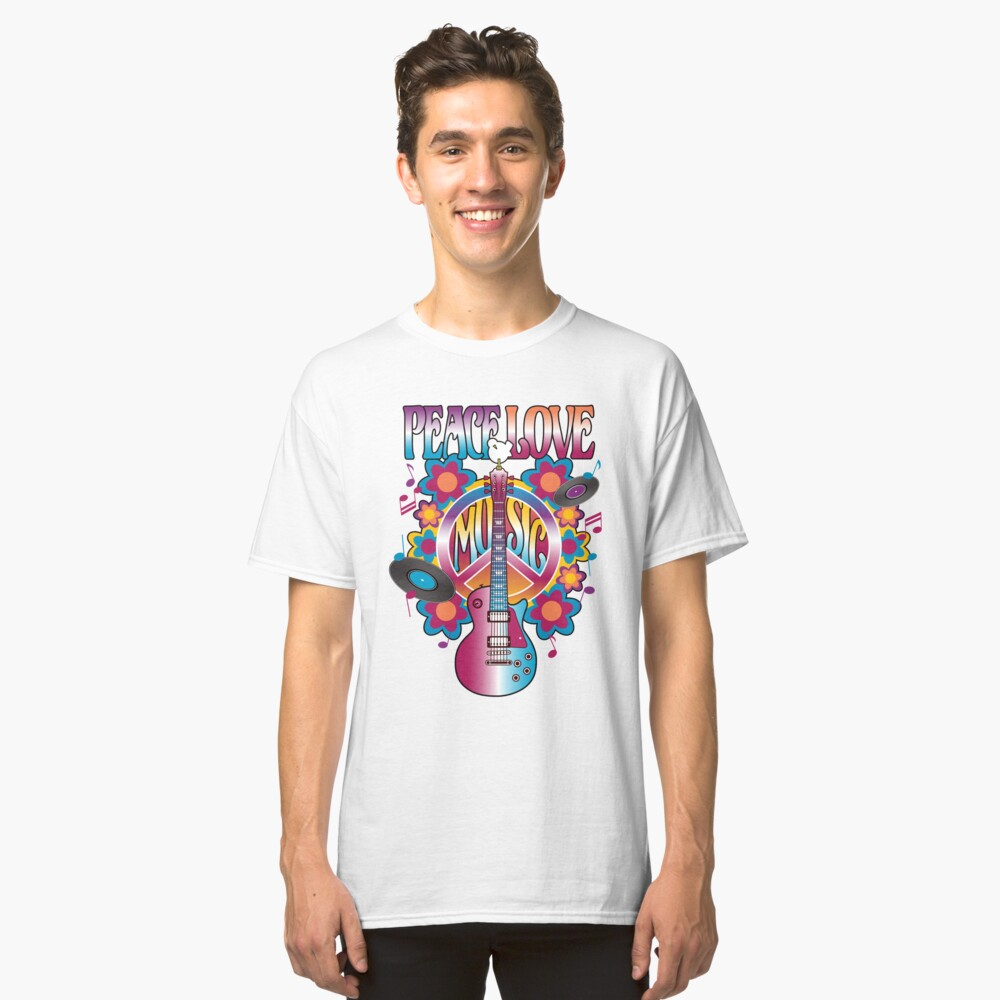 Peace, Love and Music Classic T-Shirt Front