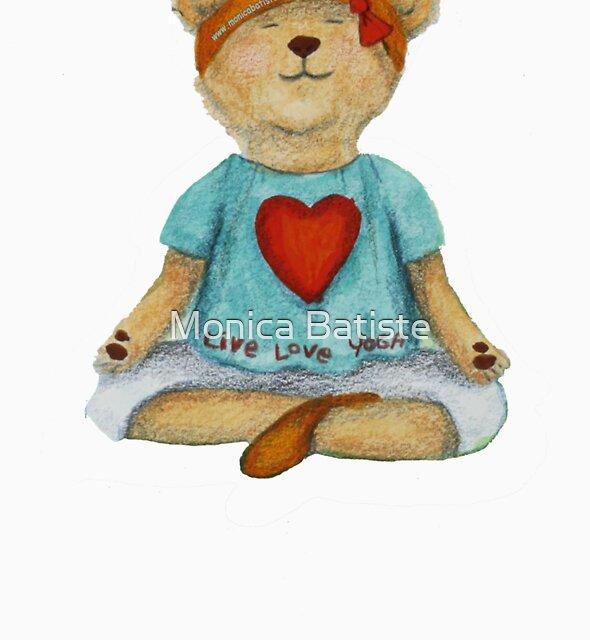 Live Love Yoga Bear in meditation by Monica Batiste