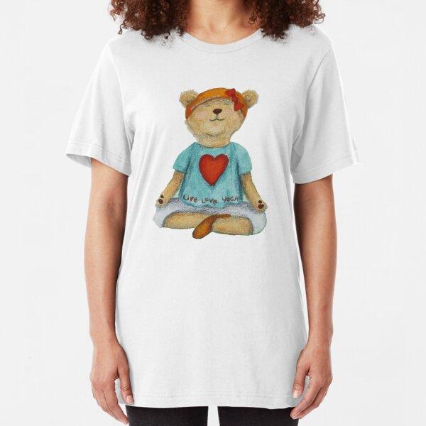 Live Love Yoga Bear in meditation Slim Fit T-Shirt