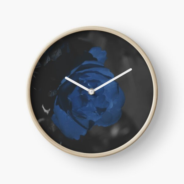 Moody Blue Floral Background Clock