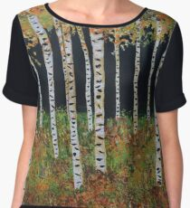 Ready for Change Colorado Aspen Tree Painting Chiffon Top