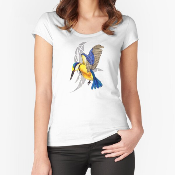 Sacred Kingfisher in flight Fitted Scoop T-Shirt