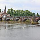 Old Dee Bridge - The River Dee from the Groves Chester by AnnDixon