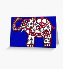 Peace Love Red White Blue Elephant Greeting Card