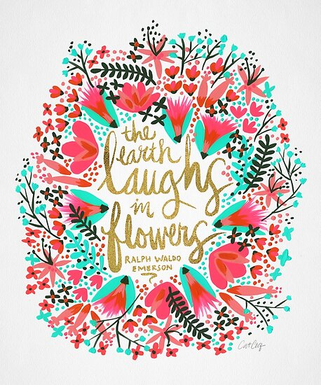 The Earth Laughs in Flowers – Pink & Gold by Cat Coquillette