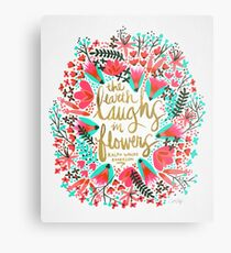 The Earth Laughs in Flowers – Pink & Gold Metal Print