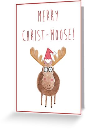 moose christmasgreetings card by francesca fearnley